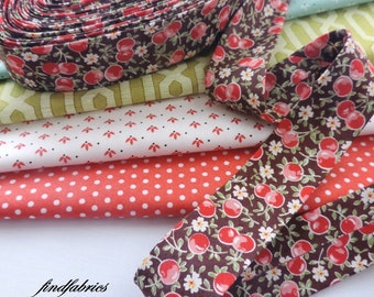 Red Cherry on Brown Available in 30mm / 18mm ~ Handmade Bias Binding Extra Wide Quilter's Bias Fold Tape
