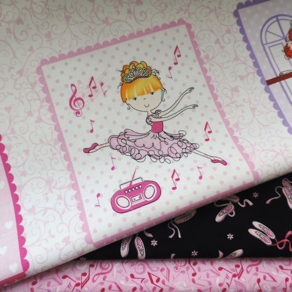 Bella-rina Panel Ballet Girls by Studio e ~ Ballet /& Misuc Themed Fabric Quilt
