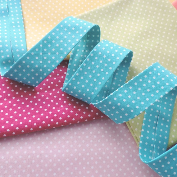 Light Blue Polka Dot Bias Binding 18mm 1 metre Light Blue