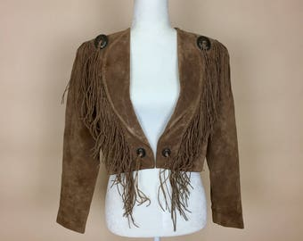 1980's Scully Suede Cropped Jacket with Fringe