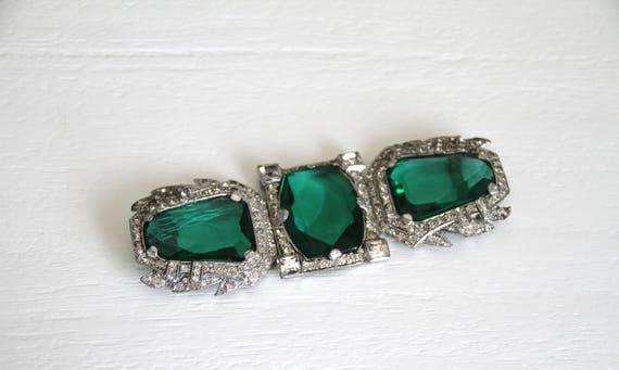1930s Rhinestone and emerald  belt buckle
