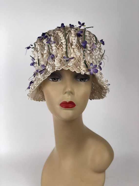 1950s Mr. John Jr. Lily Of The Valley Hat