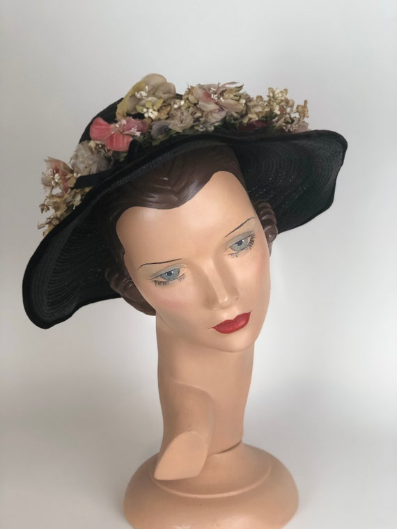"Lovely 1930s ""Miss May"" Black Straw Flowered Hat"