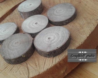 6 natural wood slices - ref: A7