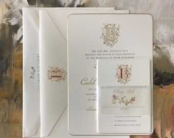 Gold Foil Letterpress Wedding Invitation Set with Custom Monogram with Rounded Corners and Beveled Edges