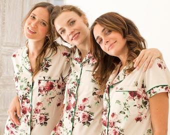 Floral Bridesmaid PJs    Bridesmaid Gift    Pajamas    Bridal PJS    Pajama  Shorts    Bridesmaid Pajamas    Bridal Pajamas    Bridesmaid 535284c09