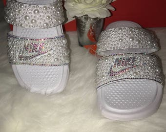 9f1804202ed558 Bling Duo band Nike Benassi slides  Pre-Order  Wedding Edition