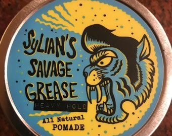 "Sylian's Savage Grease   Heavy Hold  All natural pomade    ""New formulation"""