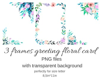 Frames Greeting Card Watercolor Wisteria Png Files Transparent Etsy