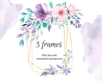 golden frames for greeting card watercolor clipart png files transparent background wedding birthday invitation free commercial use