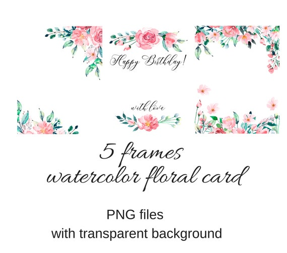 Watercolor frames greeting cards png files transparent etsy image 0 filmwisefo
