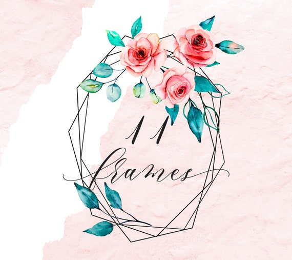 Watercolor Floral Frames Flowers Roses For Greeting Cards Png Files Wedding Birthday Party Invitation Free Commercial Use
