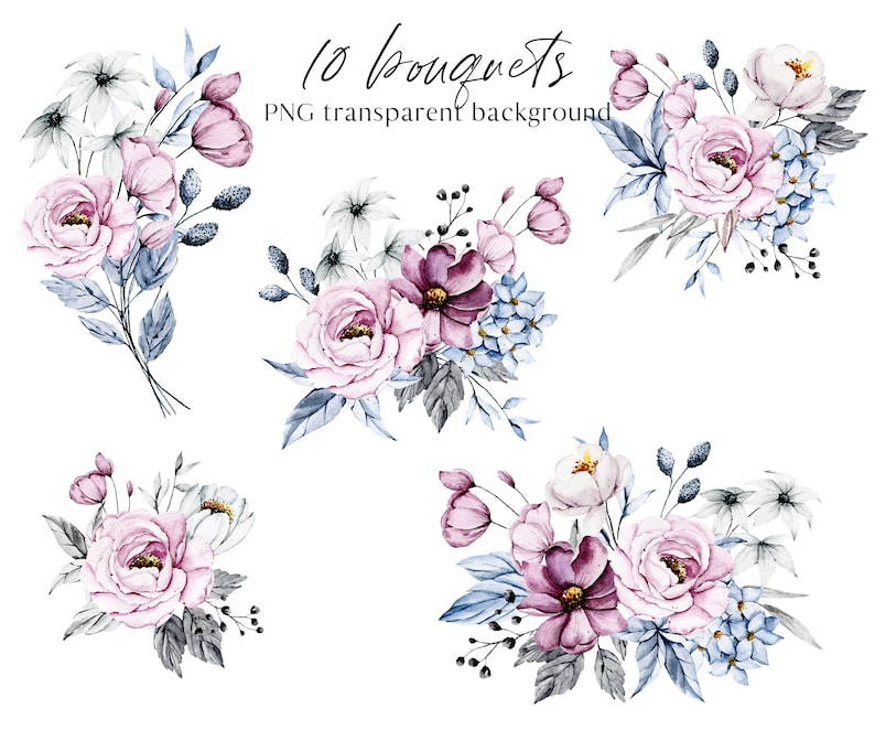 pink and blue bouquets wreaths Floral clipart PNG files transparent background Watercolor flowers clipart set Free Commercial Use