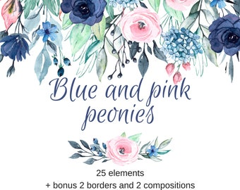 Watercolor flowers clipart,  blue and pink floral clipart set, aquarelle flower clipart, PNG transparent background, Free Commercial Use