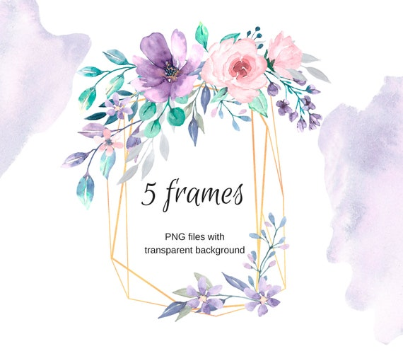 Golden frames for greeting card watercolor png files etsy image 0 filmwisefo