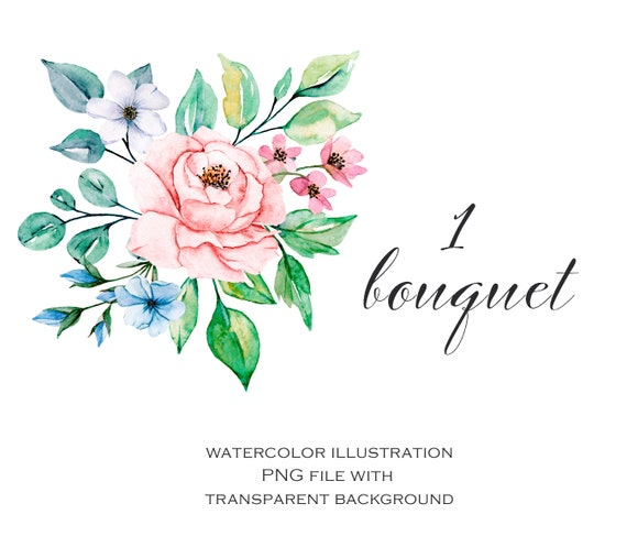 Watercolor Flower Bouquet Floral Clipart Png File With Transparent Background Aquarelle Clipart Free Commercial Use