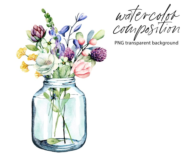 Wildflowers Of Png File With Transparent Background Free Commercial Use Watercolor Clipart Flowers In Glass Jar Aquarelle Clipart Clip Art Art Collectibles Vadel Com