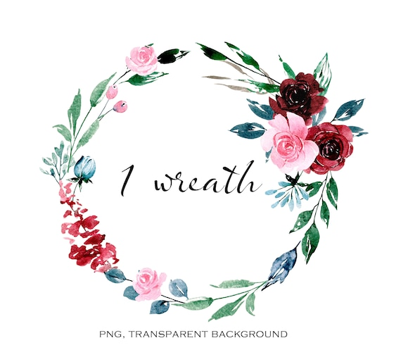 Watercolor Flower Wreath Burgundy Floral Clipart Png File With Transparent Background Aquarelle Clipart Free Commercial Use