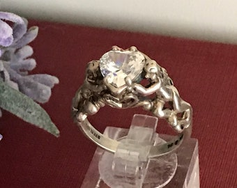 RARE Cherubs Cupids Heart Simulated Diamond Silver Ring by Kabana// Vintage Simulated Diamond Heart Sterling Silver Ring // US Size 8.75