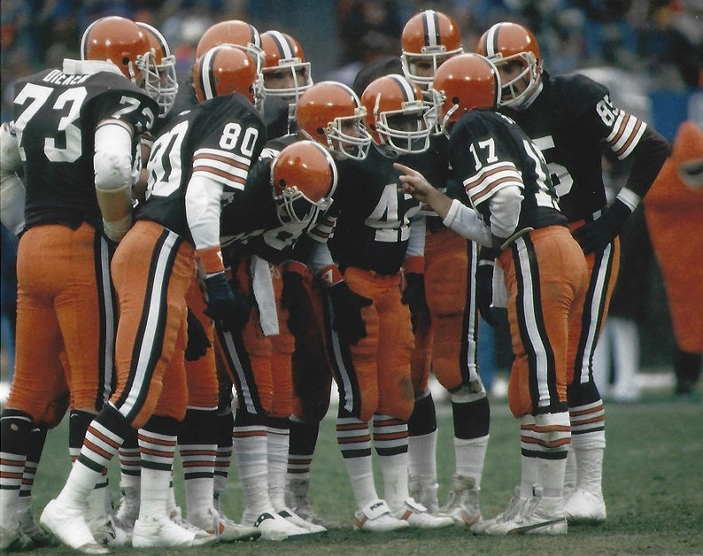 af835e95 Brian Sipe Cleveland Browns Kardiac Kids 1980's huddle unsigned 8x10 photo  poster print man cave wall decor