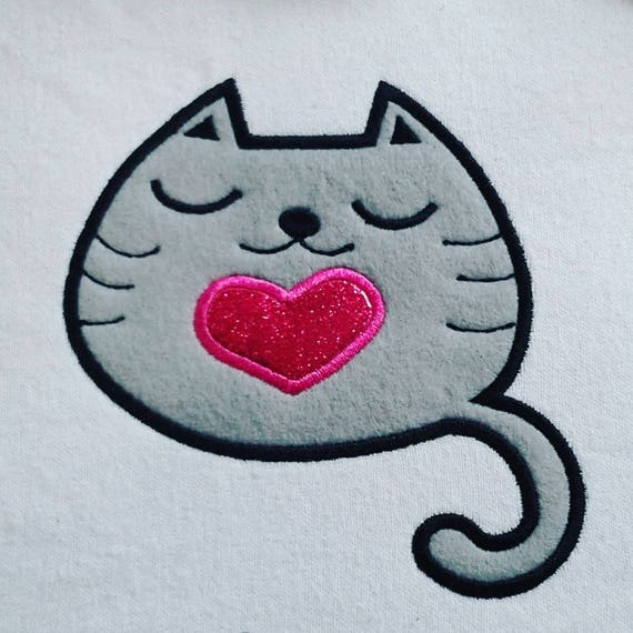 Cute Kitty With Heart Applique Machine Embroidery Design Etsy
