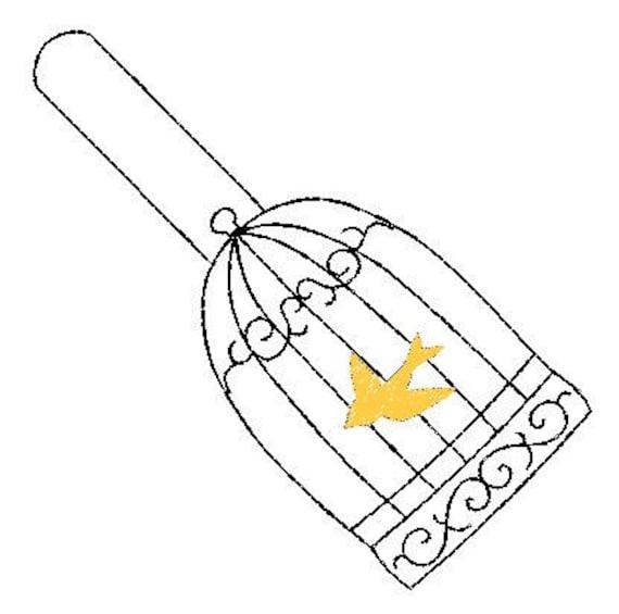 Birdcagedove Key Fob Snap Tab Embroidery Design 4x4 Size