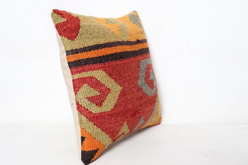 Kilim Pillow Case Turkish Kilim Pillow Decorative Kilim Pillow 16x16 Kilim Pillow Pillow Vintage Kilim Pillow 40x40 cm Cushion Cover