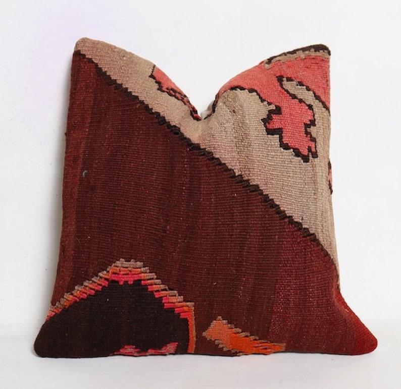 Decorative Kilim Pillow Turkish Kilim Pillow 16x16 Kilim Pillow 40x40 cm Cushion Cover Pillow Vintage Kilim Pillow Kilim Pillow Case