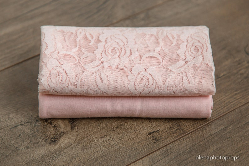 Pink set newborn photography prop pink wrap and headband baby girl pink stretch wrap and tieback ready to ship.