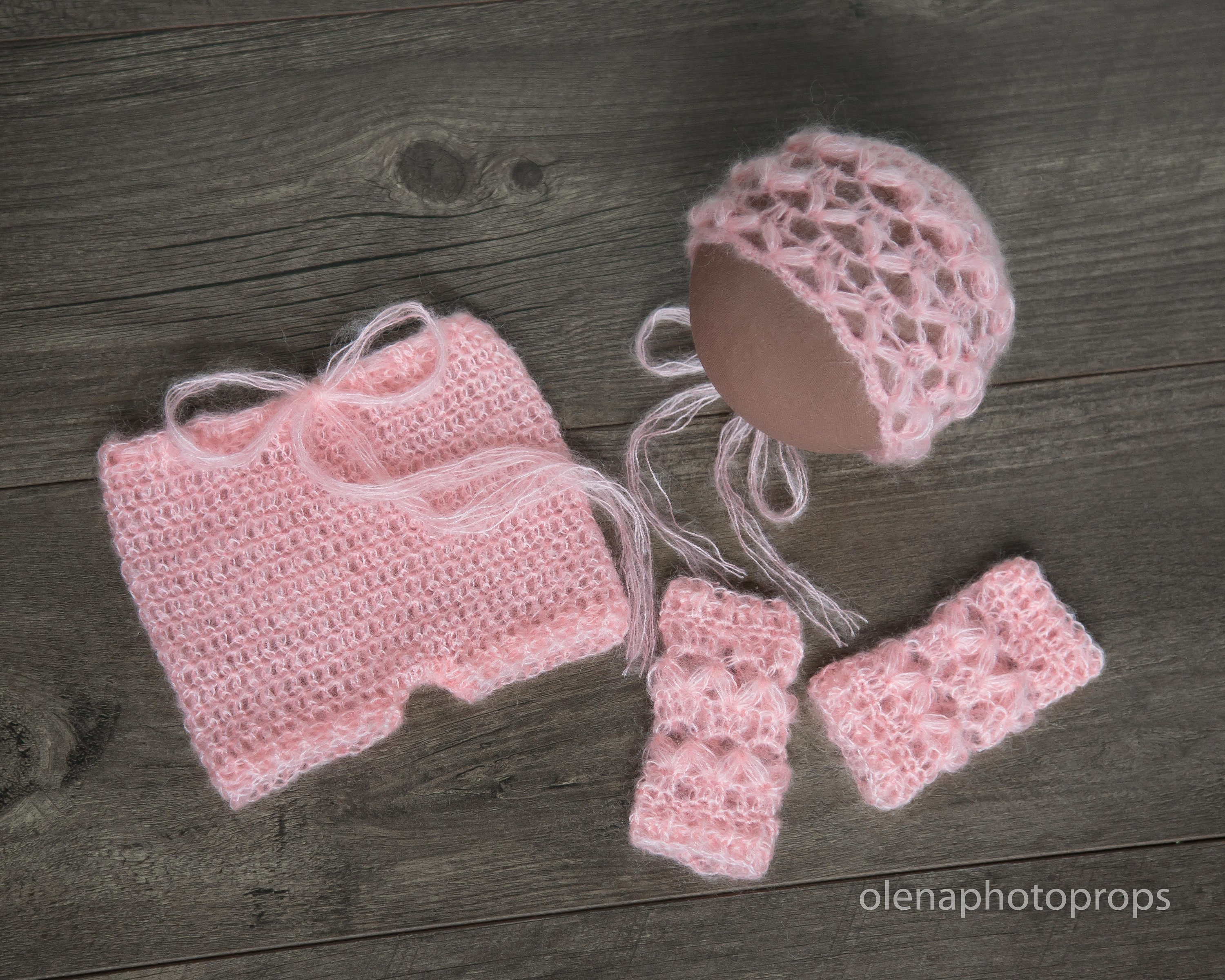 Crochet mohair baby bonnet and shorts set.Photography Props Baby Crochet Hat