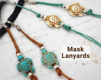 Adult Sea Turtle Beaded Mask Lanyard, Boho Hawaiian Mask Strap, Mask Holder, Lanyard for Mask, Turtle Face Mask Necklace, Face Cover Jewelry