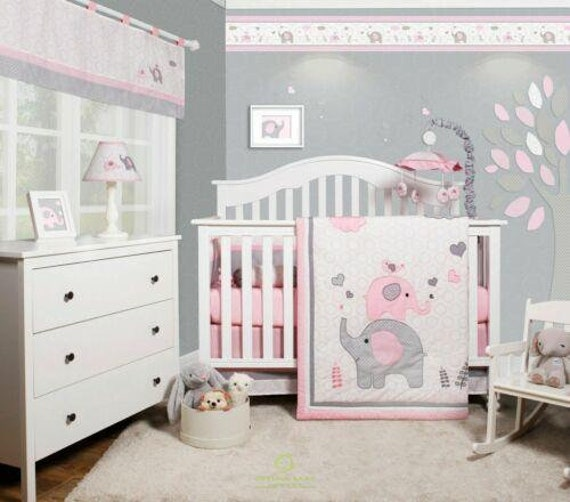 Optimababy 6 Piece Pink Grey Elephant, Baby Girl Pink And Grey Cot Bedding
