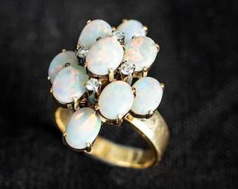 cb9e5d24f Vintage Opal Ring Australian Opals and Diamonds 18k Gold with Appraisal  Size 7.5 Opal Cocktail Ring Custom Made Opal Statement Ring