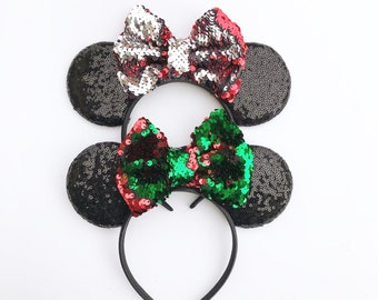 7d65e8b97d60 RTS - Flip Sequin Bow Christmas Mickey Minnie Mouse inspired Holiday Ears  for Disneyland