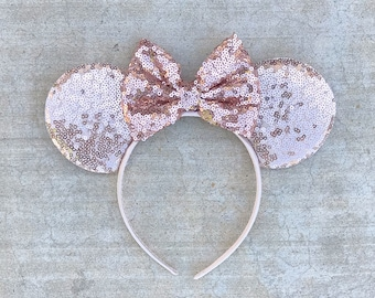 f5cd3cb995dd RTS - Rose Gold Mickey Mouse Minnie Mouse Inspired Sequin Ears for  Disneyland