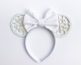 5519921ac2d8 RTS - SnowFlake Princess Glitter Christmas Mickey Miney Inspired Mouse Ears  for Disneyland