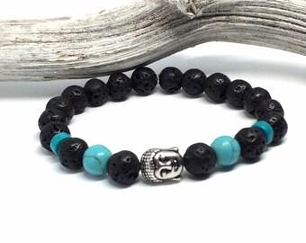 Beaded bracelet elastic with black lavas toe beads, blue natural stone beads, turquoise Heishi beads and Buddha bead Silver