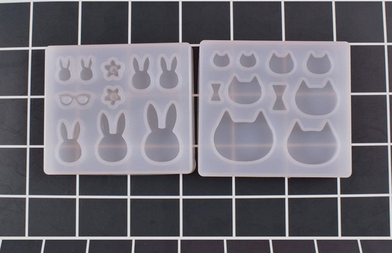 Cats molds,Animal molds,rabbit molds,Cabochon soft Silicone Mold,UV Resin Transparent Silicone Mold,uv resin mold,uv resin mould MD0001ANFS