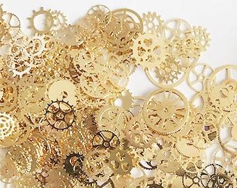 bulk 75pcs Tiny Plated Wheel Gear,Gear Rack Toothed Wheel Connectors,Clockwork Cog,Wheel Gearwheel,Gear Clock Parts,nail art,uv resin