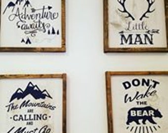 little boys custom signs, boys room decor, boys adventure sign, dont wake the bear, mountains are calling boys sign, little man boys room
