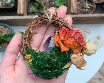 """Handmade Mini Wreath, Real Dried Flowers + Crystals, Enchanting Magickal Cottage Witch Decor, Small 3"""" Ornament, Woodland, Rustic, Altar"""