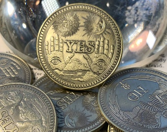 Divination Coins ~ Yes / No, Oracle Decision Coin, Antique Gold, Magic Tools, Witchcraft, Tarot