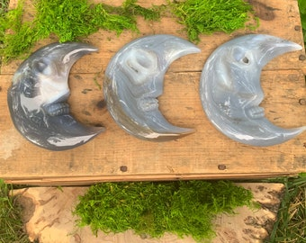 """XL Moon Face Crystal Carving, Druzy Agate, Large 5"""" Inches, Drusy, Sparkly Geode, Banded Botswana"""