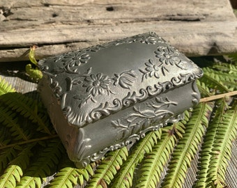 Antique Silver Floral Box, Red Silk Interior, Engraved Metal, Trinket / Jewelry Case, Elegant