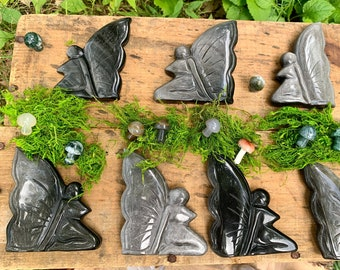 You Pick - XL Obsidian Sheen Fairy Crystal, Rare Carving, Large, Silver Flash, Carved