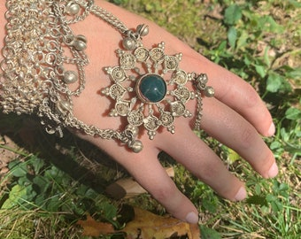 Vintage Bracelet & Ring Combo, Hand Harness, Haath Phool, Hand Chain, Bells, Bellydancing, Traditional Kuchi Ornate Silver Metal Crystal