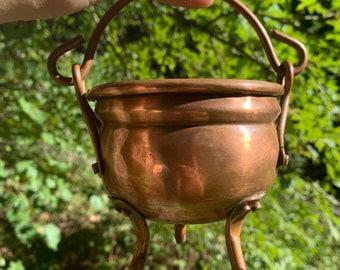 Pure Copper Cauldron, Antique / Vintage Altar Home Decor, Small Kitchen Witch, Planter / Pot, 3 Footed, Handle Feet