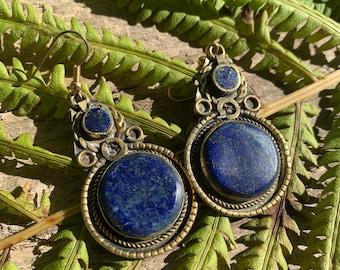 Vintage Lapis Lazuli Earrings, Drop Earrings Boho, Crystal Blue Stone