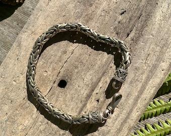 Men's Byzantine Sterling Silver Bracelet, Unique Braid Chain, Celtic Viking Heavy Duty