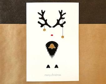 Christmas Card - Reindeer, Bells, Merry Christmas, Rudolf